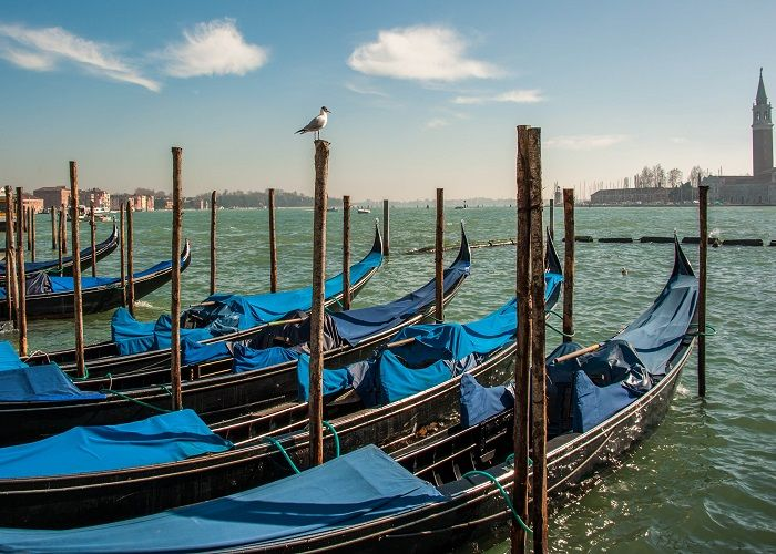 Gondola dock, Venice, Italy