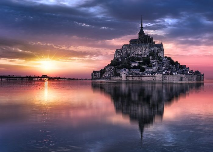 Le Mont-Saint-Michel at sunset, Normandie, Bretagne, France, Europe