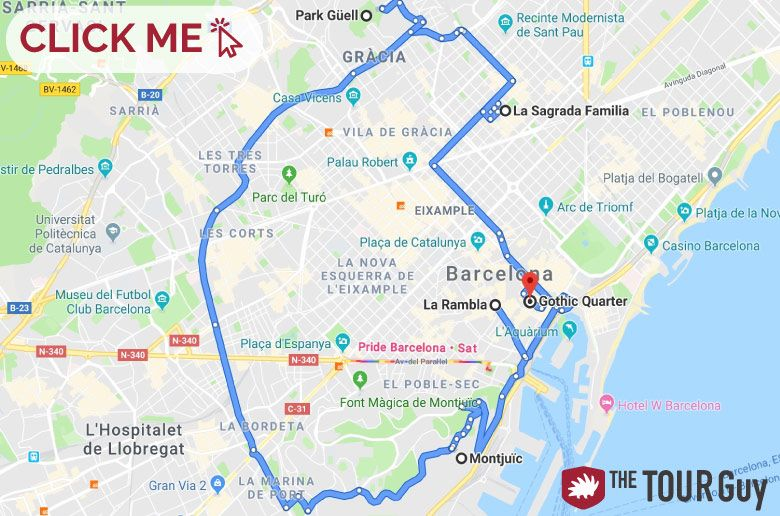 Barcelona in a day route