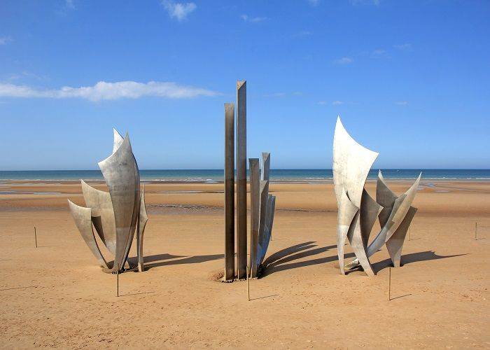 Memorial at Omaha Beach - place of landing of allied forces during the Normandy D-Day invasion - June 6, 1944.
