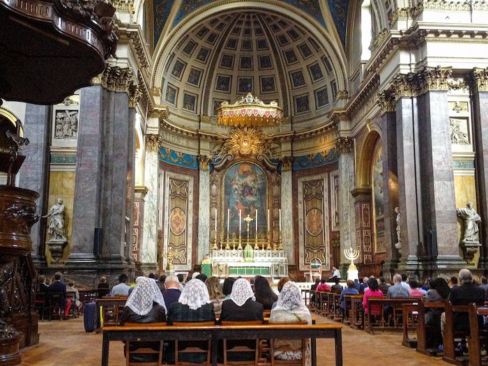 The Brompton Oratory in London is a quiet free place to enjoy beautiful Italian Baroque architecture.